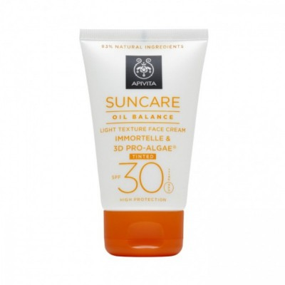 Apivita Suncare Light Texture Face Cream Tinted Immortelle & 3D Pro-Algae SPF30 50ml