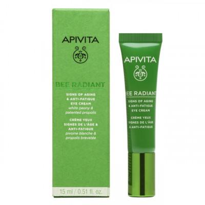 Apivita Bee Radiant Eye Cream with Peony, Κρέμα Ματιών για Σημάδια Γήρανσης - Ξεκούραστη Όψη 15ml