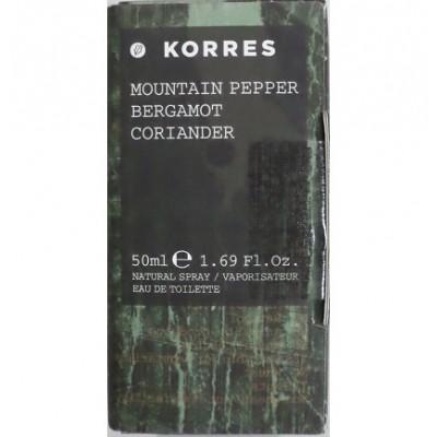 KORRES EAU DE TOILETTE MOUNTAIN PEPPER,BERGAMOT,CORIANDER 50ml