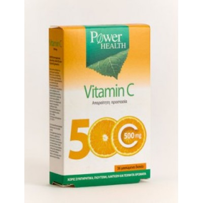 POWER HEALTH VITAMIN C 500MG 36CHEW TABS