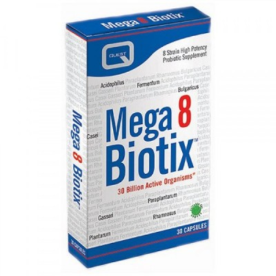 QUEST MEGA 8 BIOTIX providing 30 billion probiotic bacteria 30CAPS