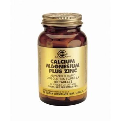 SOLGAR CALCIUM MAGNESIUM PLUS ZINC 100TABS