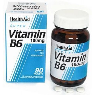 HEALTH AID VITAMIN B6 (PYRIDOXINE HCl) 100mg PROLONGED RELEASE TABLETS 90's