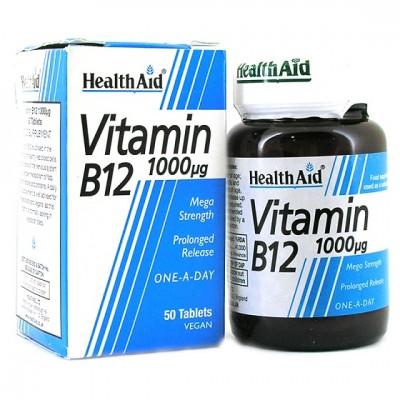 HEALTH AID VITAMIN B12 (CYANOCOBALAMIN) 1000UG PROLONGED RELEASE TABLETS 50'S