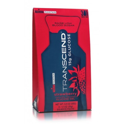 Transcend 15g Glucose Strawberry (Φράουλα) Ζελέ Γλυκόζης 3x31gr. 'Aμεση και ελεγχόμενη αναπλήρωση ενέργειας