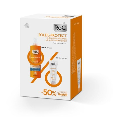 Roc Soleil-Protect , Lait Hydratant Spf 30 200 ml + Fluide Anti Rides Lissant Spf 50 50ml