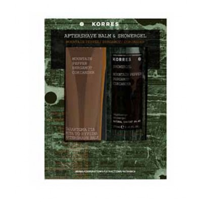 KORRES GIFT SET FOR HIM, Σετ με Aftershave Balm 125ML & ΔΩΡΟ Showergel 250ML με άρωμα Mountain Pepper, Bergamot & Coriander