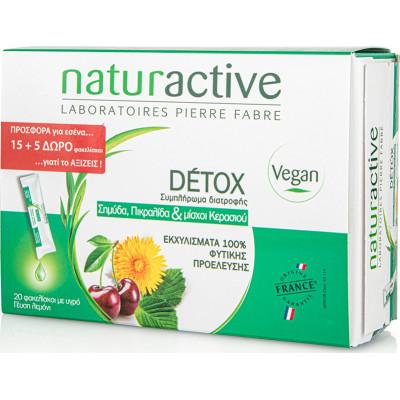 Naturactive Detox Συμπλήρωμα Διατροφής με Σημύδα, Πικραλίδα & Μίσχους Κερασιού 20 Φακελάκια